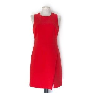 Banana Red Faux Wrap Crepe Dress Size 6